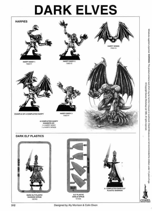 Dark Elf Harpies Catalogue Page, 3 bodies & wings + codes