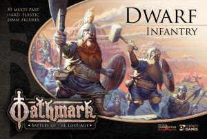 Oathmark Dwarf Infantry Box Cover Art, Dwarves Advancing, Weapons Raised.
