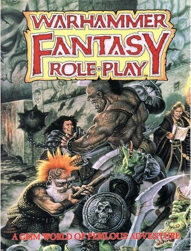 warhammer fantasy roleplay book cover, dwarf slaying orc, fighter slays ogre