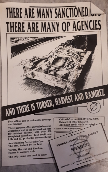 Fictional advert for Turner, Harvest, Ramirez Sanctioned Op Agency