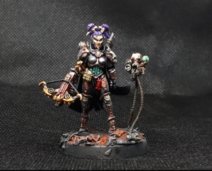 Inquisitor Greyfax model with drukhari witch replacement head in silver power armour