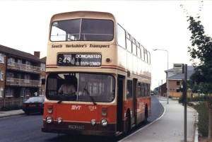 SYT bus in red/brown/beige livery, circa 1980s, Doncaster route