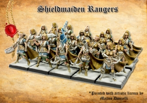 shieldmaiden miniatures as rangers, painted