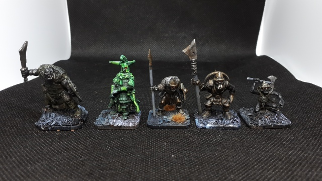 4 orcs and a nazgul in a row