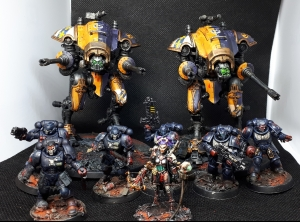 Two Imperial Knights, assorted Primaris Crimson Fist Space Marines & and Inquisitor