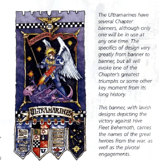 Ultramarines Chapter banner featuring Genestealer