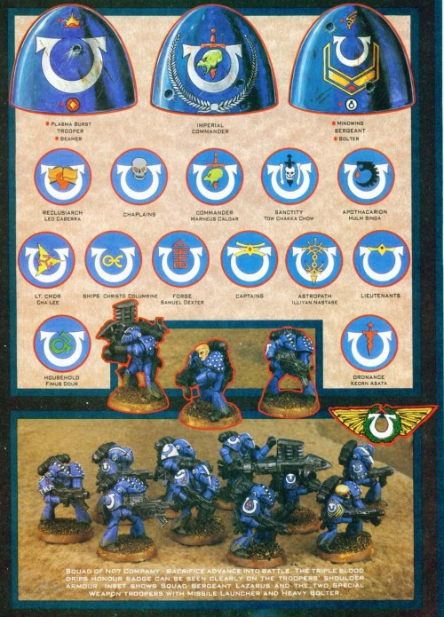 Depiction of Rogue Trader Ultramarines Chapter Shoulder pad markings