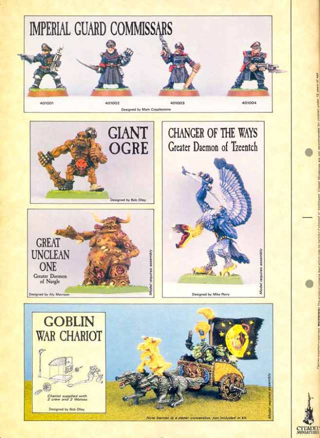 Page 76 White Dwarf 109 Eavy Metal Commissars, Ogre, Unclean One, Changer of Ways, Goblin Chariot