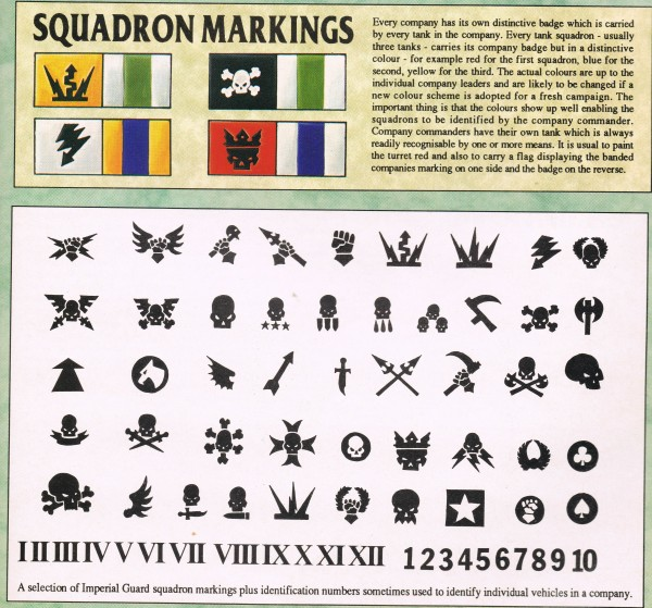 Imperial Guard Armour Squadron Markings + banners WD143 (3)