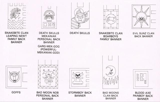 Space Ork back banners from WD122 black and white line