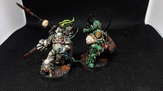 Death Guard Champion in Pre-Heresy colours and Plague Marine with Great Plague Cleaver