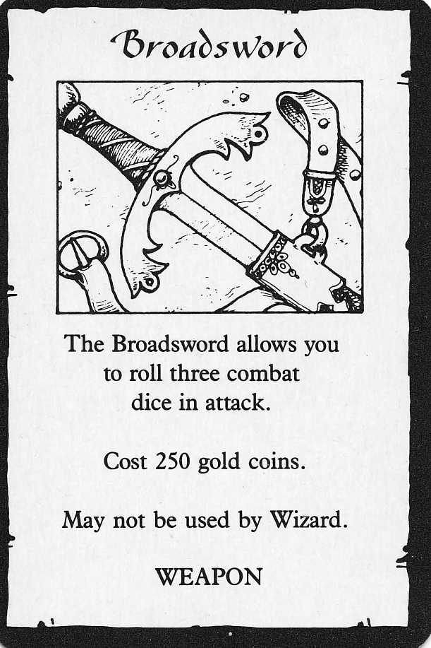 Heroquest Broadsword Item Card