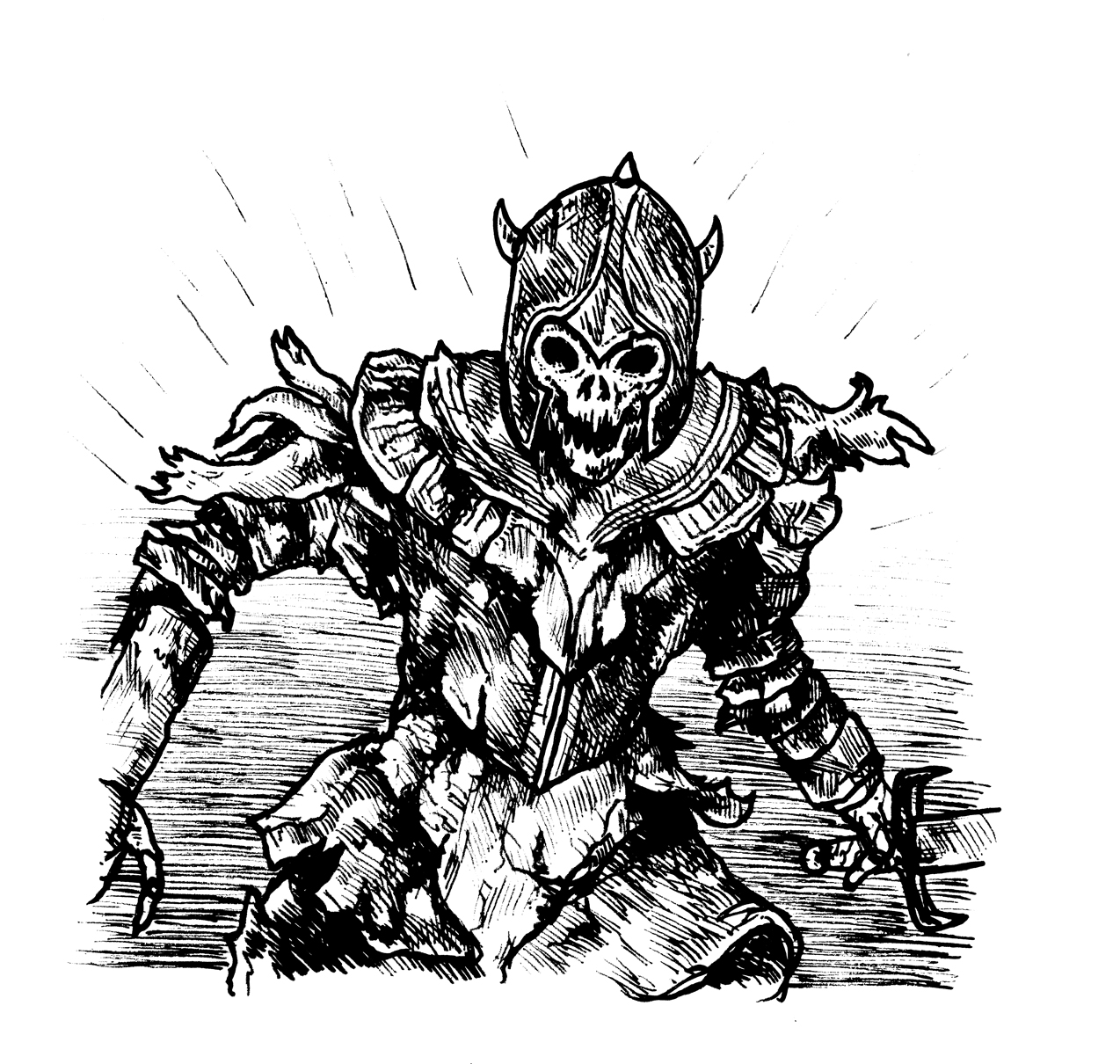 Skeleton Giant Illustration b+w Escape the Dark Castle Chapter Card art
