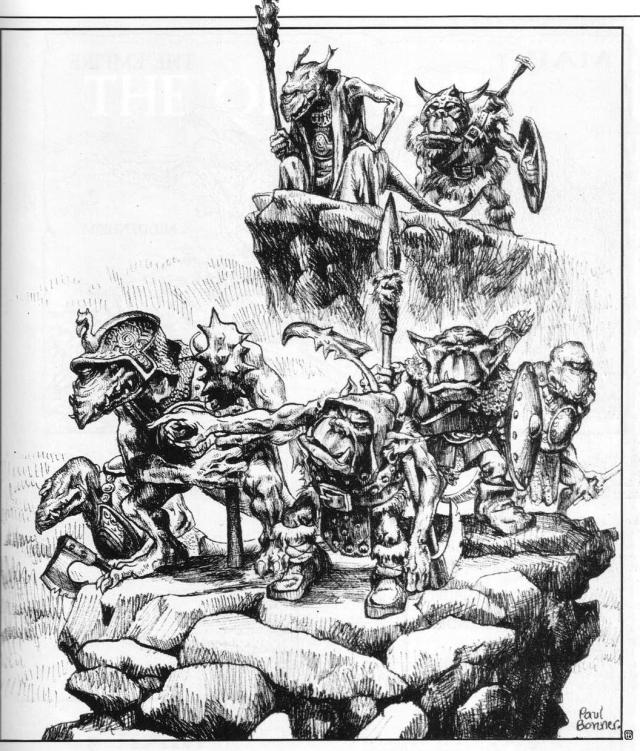 Fimir & Orc Scouts art, Paul Bonner
