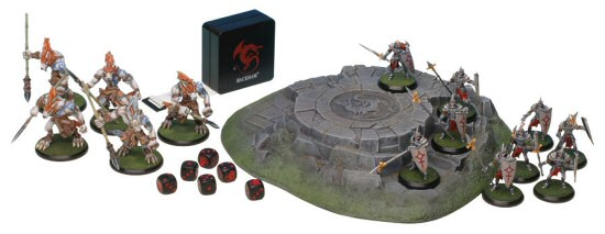 5 Wolfen and 9Griffin on 'Seal of the Dragon' terrain element, Rackham Miniatures promotional photo