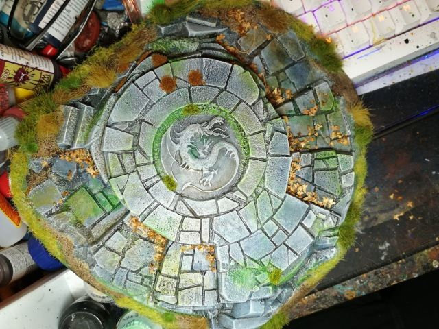 Seal of the Dragon Terrain piece re-painted, flocked and tufted, top view