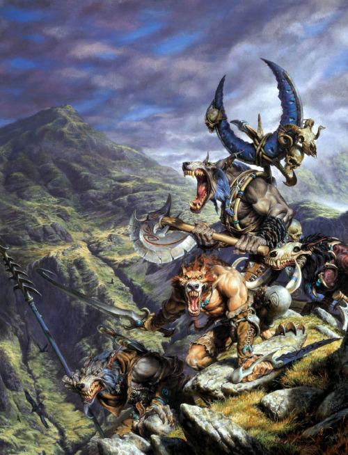 Paul Bonner Rackham Confrontation Artwork: Wolfen atop a mountain.